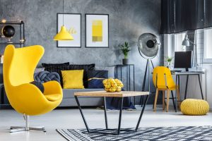 Hipster room with yellow armchair