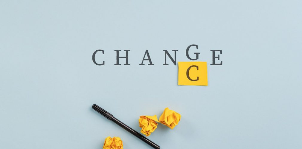 Changing the word Change into Chance in a conceptual image of challenge and mindset.