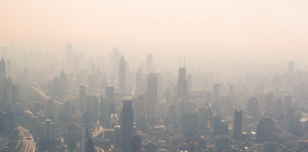 Shanghai, late afternoon, view of the pollution from the sky.